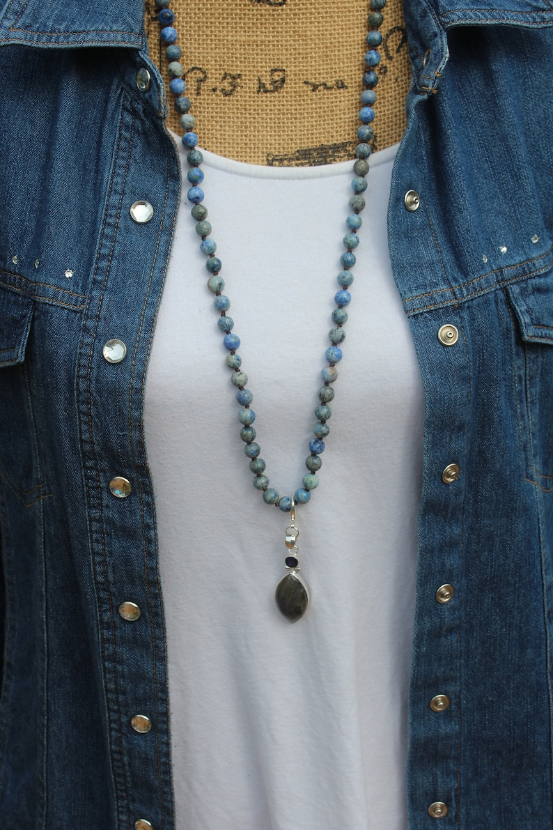 Beaded Intuition Necklace Boho Jewelry by Inarajewels Long Gray Crystal Necklace Boho Glam