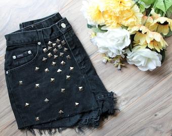High waist vintage black denim shorts Size 12 | Ripped distressed stud shorts | Silver pyramid studded | Hipster shorts | Festival shorts |