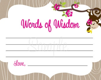 Monkey Baby Shower - Words of Wisdom Note Cards - GIRL