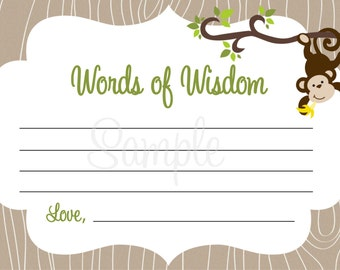 Monkey Baby Shower - Words of Wisdom Note Cards - BOY