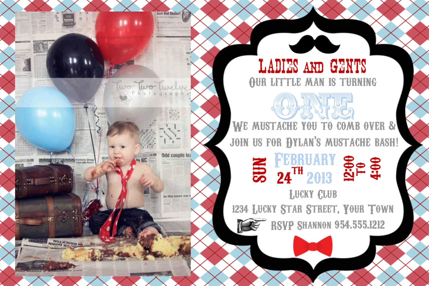 Little Man Mustache Bash Invitation Double Sided Template 4X6 | Etsy
