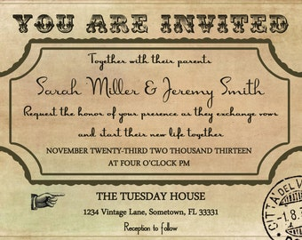Double Sided Vintage Wedding Invitation Template