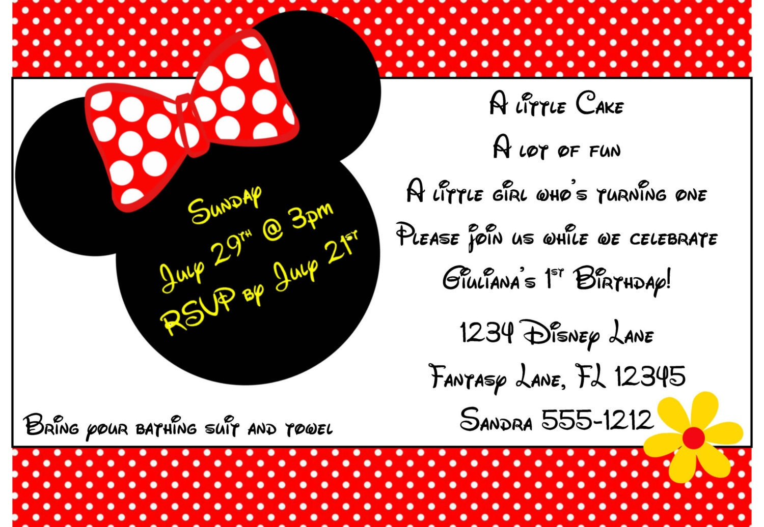 Minnie Mouse Invitation Template 4x6 | Etsy