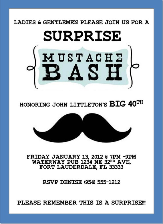 mustache bash invitation template 4x6 etsy