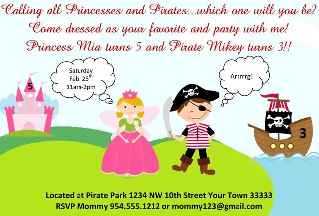 Pirate princess birthday invitation template 4x6 etsy image 0 filmwisefo