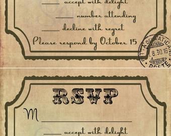 Vintage Wedding RSVP Template