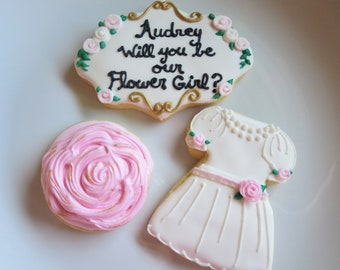 Flower Girl Cookies, Will You Be My Flower Girl Cookies, Flower Girl Proposal, Will You Be My Flower Girl, Wedding Cookies, Flower Girl