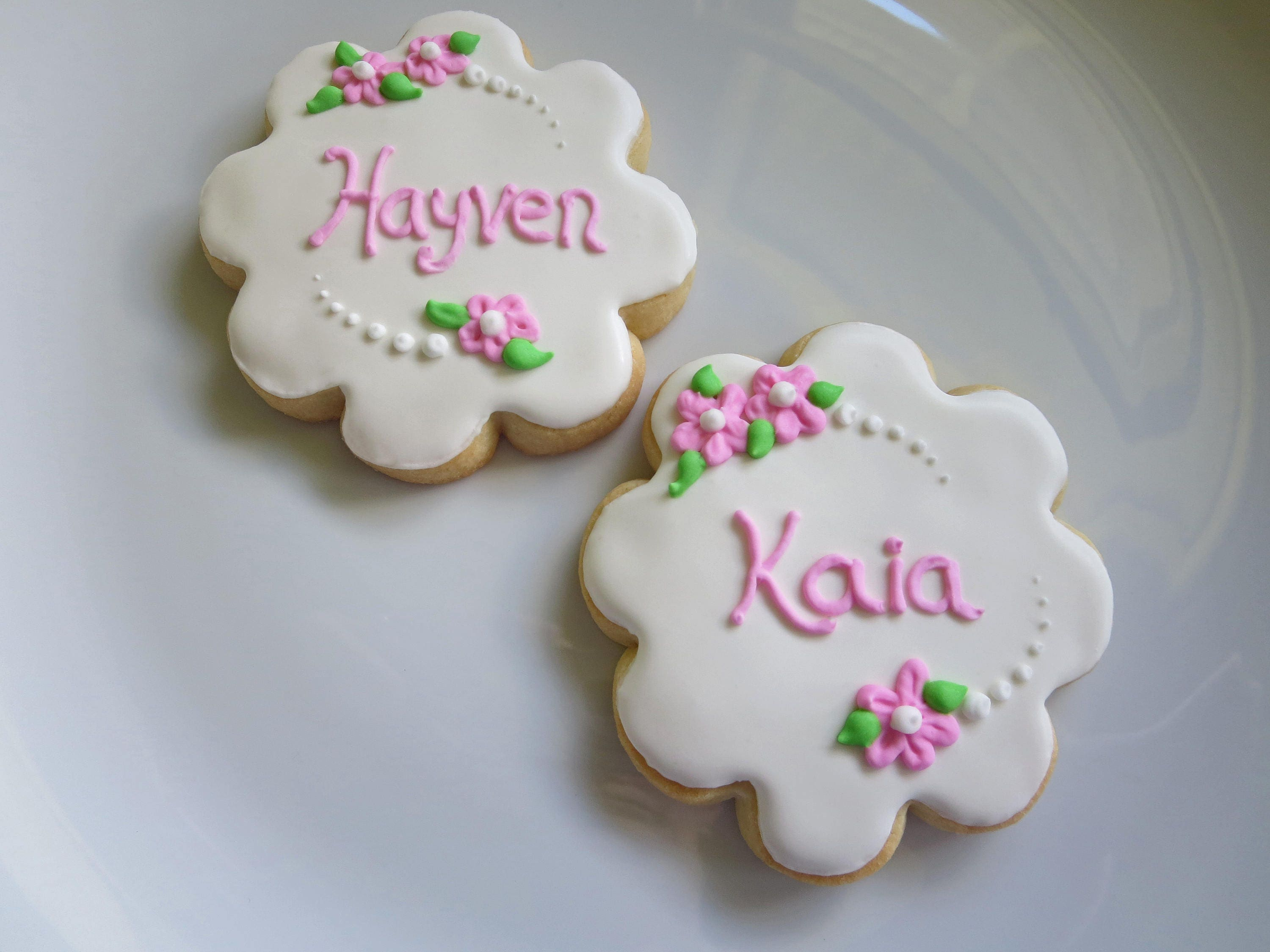Flower Girl Cookies Flower Cookie Personalized Birthday Favor Girl Favor Gift Flower Pink Name Wedding Baby Shower Cookie