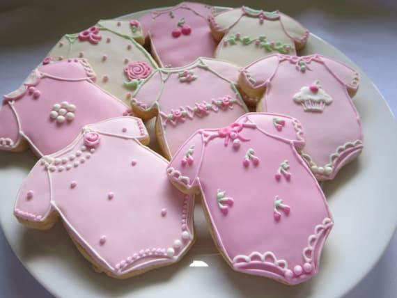 Baby Shower Cookies Baby Girl Cookies Onesie Baby Cookies Etsy