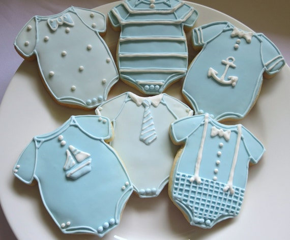 Baby Shower Cookies Baby Shower Favors Boy Onesies Boy Etsy