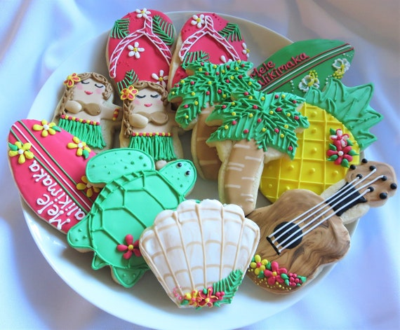 Christmas In Hawaii Party.Christmas Cookies Hawaiian Christmas Mele Kalikimaka Christmas Cookies Favors Hawaii Hula Turtle Surfboard Pineapple Ukulele