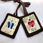 Divine Mercy and Miraculous Medal Hand-Embroidered Brown Scapular