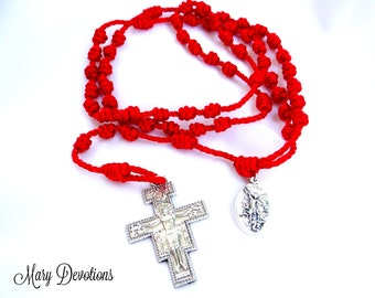 Red Twine Knotted Rosary with St. Michael Medal