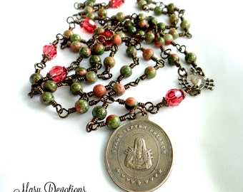 Seven Sorrows Bronze and Unakite  Chaplet