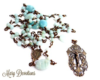 Angels of the Lord Amazonite and Bronze Rosary