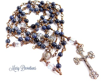 Dumortierite and Blue Crystal Wire-Wrapped Bronze Rosary