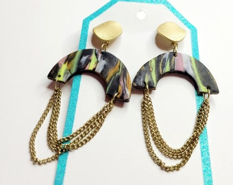 Unique Polymer Clay Earrings With Chain