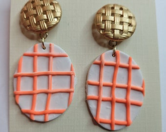 Oval polymer clay earrings, unique, modern, beautiful
