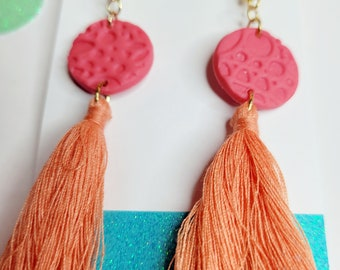 Tangerine tassels earrings and polymer clay