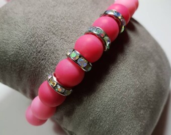 Pink acrylic beads bracelets with tassel