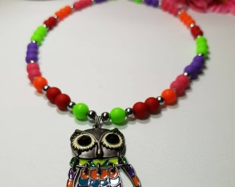 Unique owl necklace with acrylic colourful beads