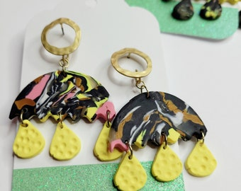 "Whimsical Polymer Clay Earrings ""Umbrella """