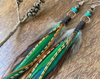 Real Feather Earrings, Boho Feather Earring, Hoop Earrings, Bohemian Jewelry, Boho Jewellery, Gifts For Women, Beaded Feather Earrings