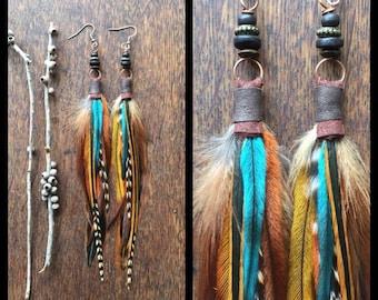 Real Feather Earrings, Phoenix  Feather Earrings, Bohemian Earrings, Southwestern Jewelry, Native American Jewellery, Unique Gifts for Girls
