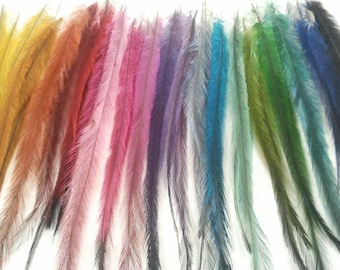 Long Emu Feather Hair Extensions  50 pieces//Hair Feather Accessories, Feather Hair Clip//Wholesale Lot, Hair Feathers salon grade