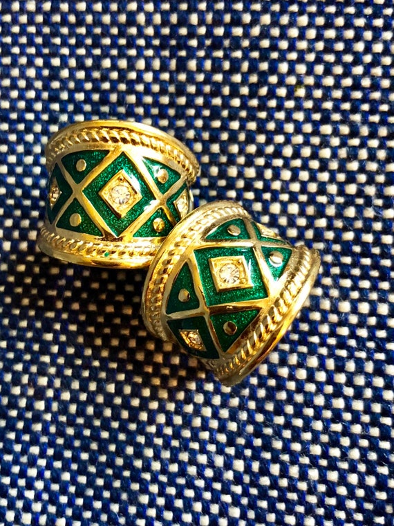 Vintage Burberrys Clip Style Earrings - Plaid Enam