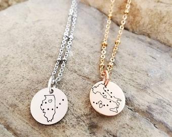 8d37d8ae8 Best Friend Necklaces - Long Distance Friendship Jewelry -Best Friend Gift  - States Necklaces - Long Distance Friendship Necklace