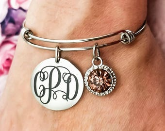 Monogrammed Bangle - Monogram Bracelet - Bridesmaid Bracelet - Maid of Honor Bracelet - Bridesmaid Gift - Monogram Gift - Sister Gift