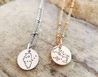 Best Friend Necklaces - Long Distance Friendship Jewelry -Best Friend Gift - States Necklaces - Long Distance Friendship Necklace