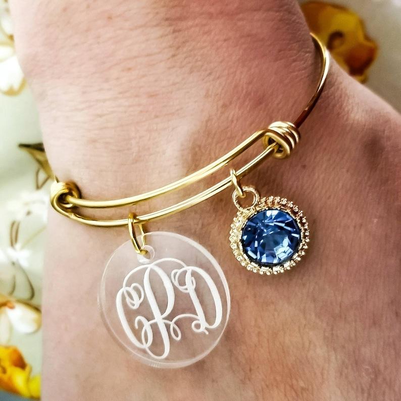 96a7cb2be5a74 Monogrammed Bracelet - Custom Charm Bracelet - Bridesmaid Gift - Bridesmaid  Bracelet - Monogram Charm Bracelet - Custom Sister Gift