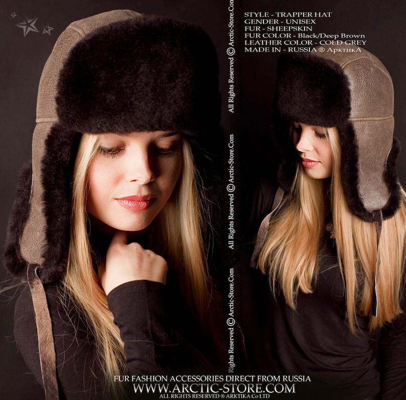 6b8b2e04 Sheepskin Trapper Ushanka Aviator Russian Fur Hat Unisex COLD   Etsy