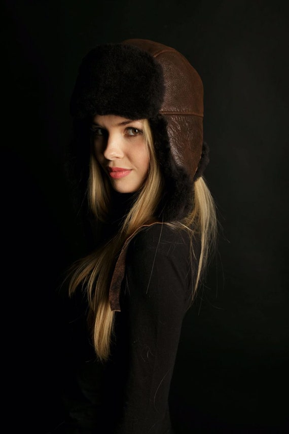 Sheepskin Trapper Ushanka Aviator Russian Fur Hat Unisex DARK  21a69f09c77a