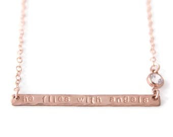 He Flies With Angels Remembrance Necklace - Memory Jewelry with Diamond - Rose Gold