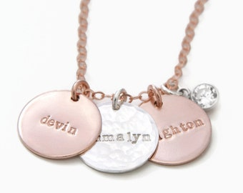 Rose Gold Personalized Three Name Necklace, Dainty Hand Stamped Mixed Metal Charm Necklace with Diamond, Custom Mommy Necklace Rose