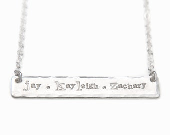 Hand Stamped Name Necklace, Three Name Sterling Silver Bar Necklace, Personalized Bar Necklace