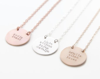 Multiple Name Disc Necklace, Hand Stamped Circle Disc Choker, Custom Name Pendant, Three Names