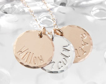 Gold and Silver Hand Stamped Name Necklace, Three Name Custom Mommy Necklace, Mixed Metal Name Necklace