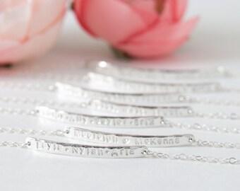 Three Name Bar Bracelet, Custom Sterling Silver Childens Name Bracelet, Personalized Bar Bracelet