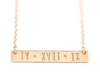 Gold Filled Mama Hand Stamped Bar Necklace Hammered Mommy Necklace Personalized Horizontal Bar