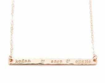 Thin Gold Bar Necklace, Hand Stamped Name Necklace, Custom Skinny Gold Bar, Name Jewelry