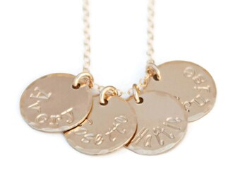 Gold Four Name Mommy Charm Necklace - Gold Filled Disc Mothers Jewelry