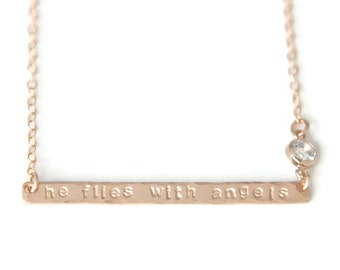 He Flies With Angels - Gold Filled Bar Necklace - Remembrance Jewelry - Gift for Widow