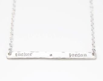 Hand Stamped Skinny Bar Necklace, Custom Sterling Silver Two Name Necklace, Dainty Bar Necklace