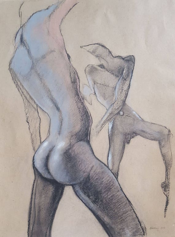 Male Nude Figure Drawing, No  154 by artist Lori Markman - original pastel  on paper drawing - fine art - 18 inches x 24 inches SALE