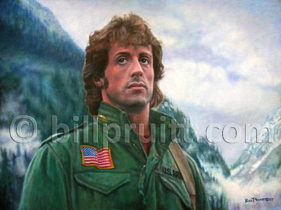 Sylvester Stallone Rambo First Blood Art Print 12x16 Signed Etsy