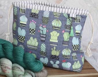 PRE-ORDER!!! Medium Sized Cactus Drawstring Project Bag